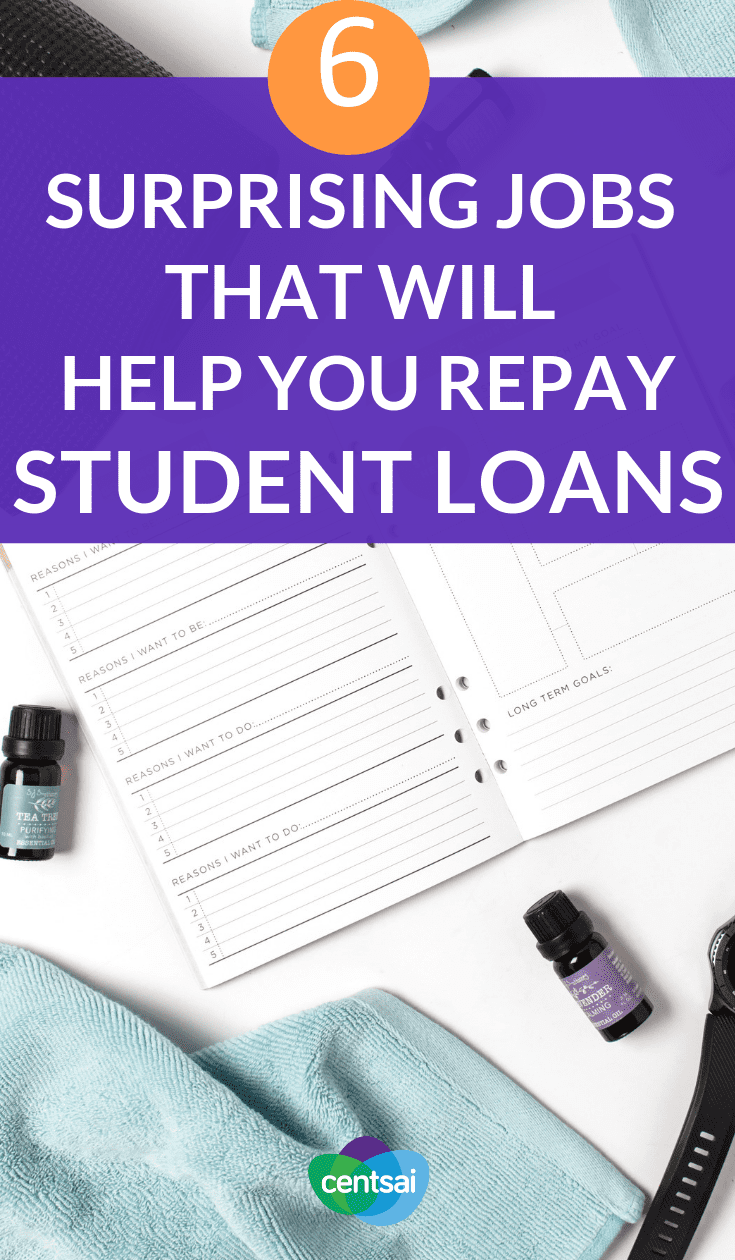 6 Surprising Jobs That Will Help You Repay Student Loans. Well, as much luck as you can have with student loan debt. The good news is that federal loans offer various student loan repayment options for borrowers after they graduate, so you're not just stuck with one payment plan. #studentloans #studentloandebt #loandebt