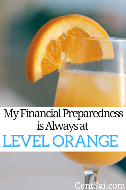Doomsday aside, you need to be prepared for smaller (but still expensive) challenges like an understocked fridge or an overdrawn account. My Financial Preparedness is Always at Level Orange.