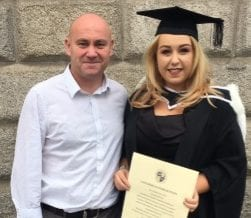Kelly Meehan Brown with her dad at her graduation | Money Lessons My Dad Taught Me