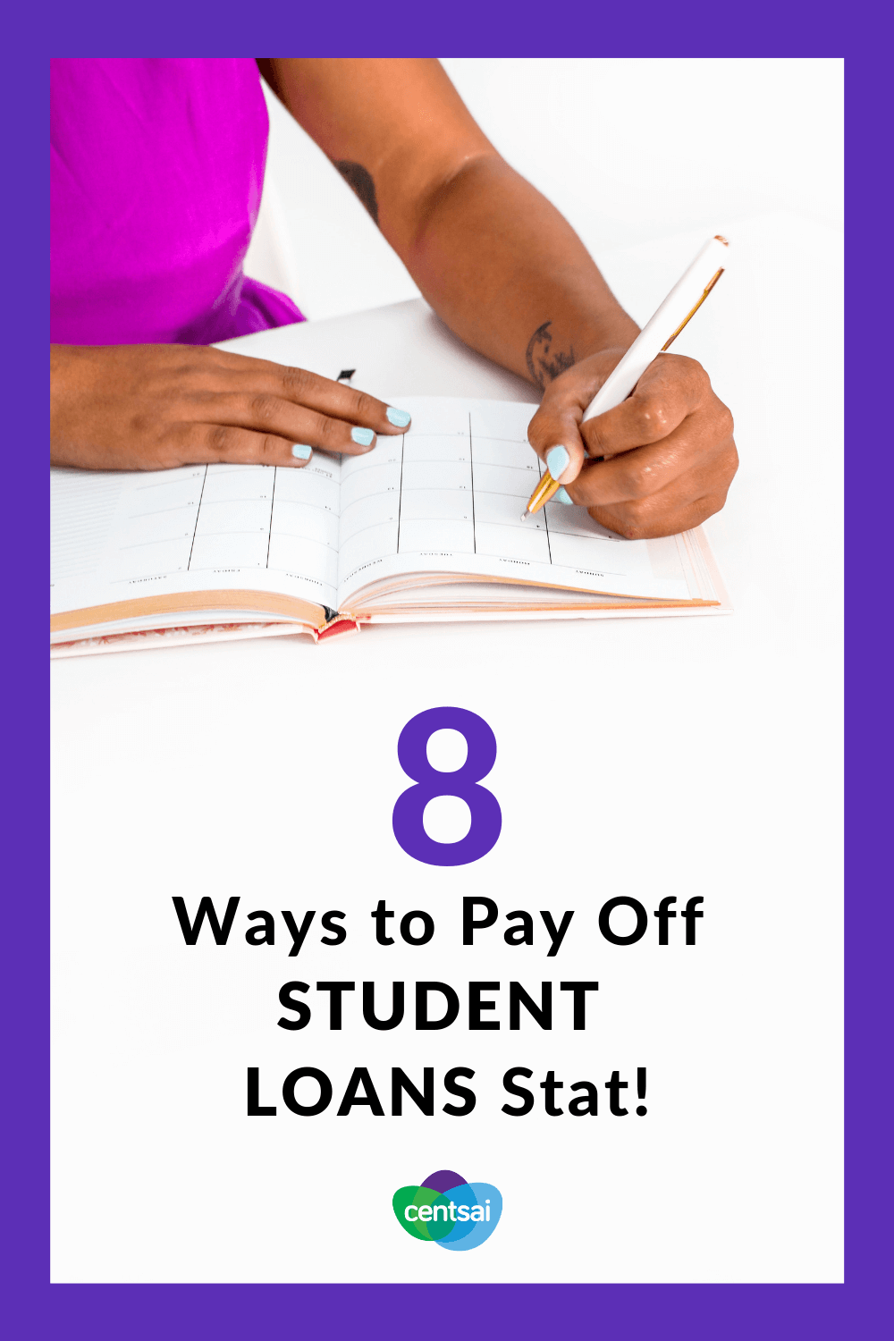 8 Ways to Pay Off Student Loans Stat! Does your student loan debt feel like a ball and chain dragging you down? Check out ways to pay off student loans and get rid of that weight. #studentloandebt #studentloans #studentloanspayingoff