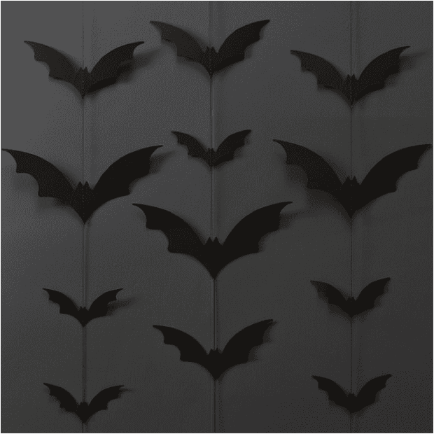 27 Cheap Halloween Party Ideas for Under $27: Bat paper garlands