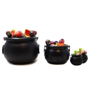 27 Cheap Halloween Party Ideas for Under $27: giant grim reaper: Witches' brews - cauldrons with candy