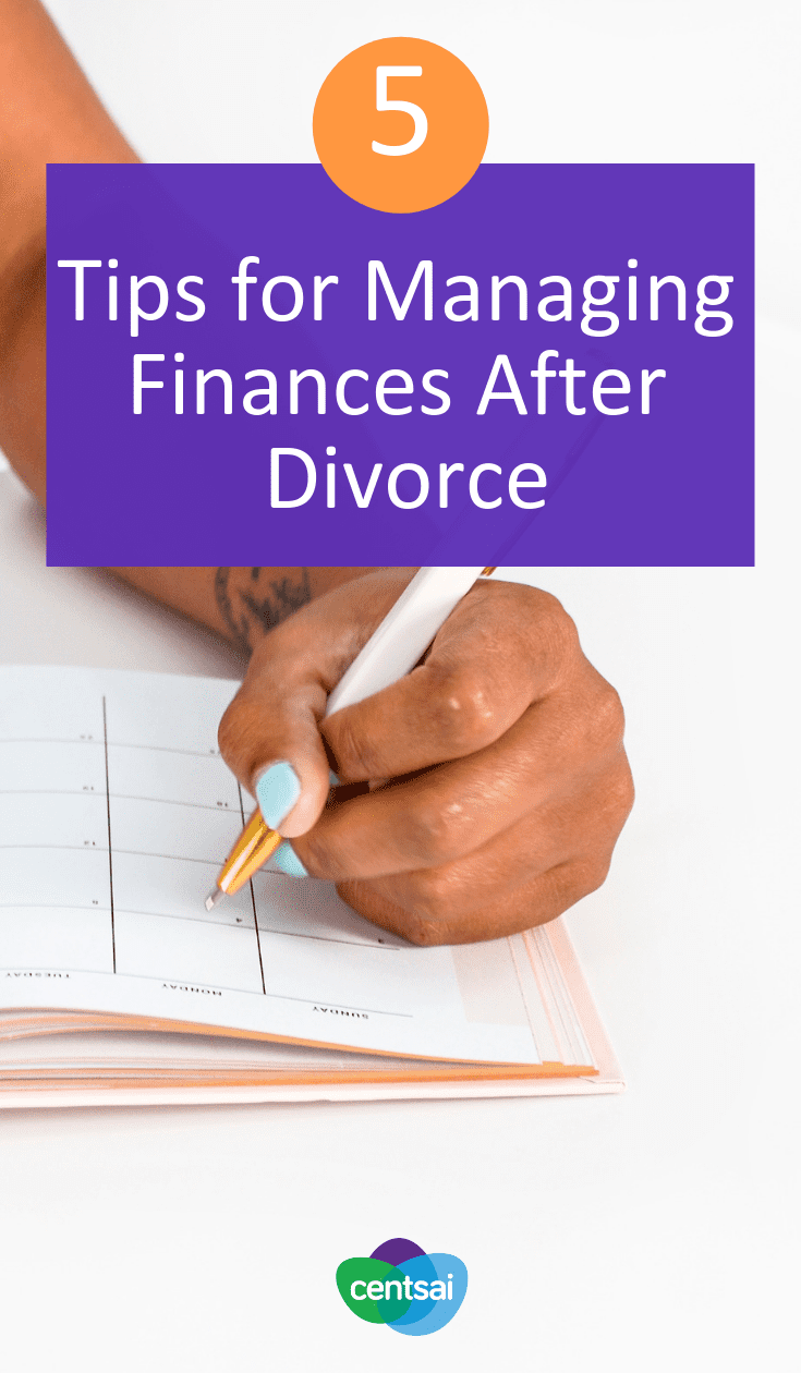 Five Tips for Managing Finances After Divorce. Managing finances after #divorce can be difficult - here's a step by step process to guide you during this emotionally difficult time. #divorcefinancialplanning #financialplanning #moneytips