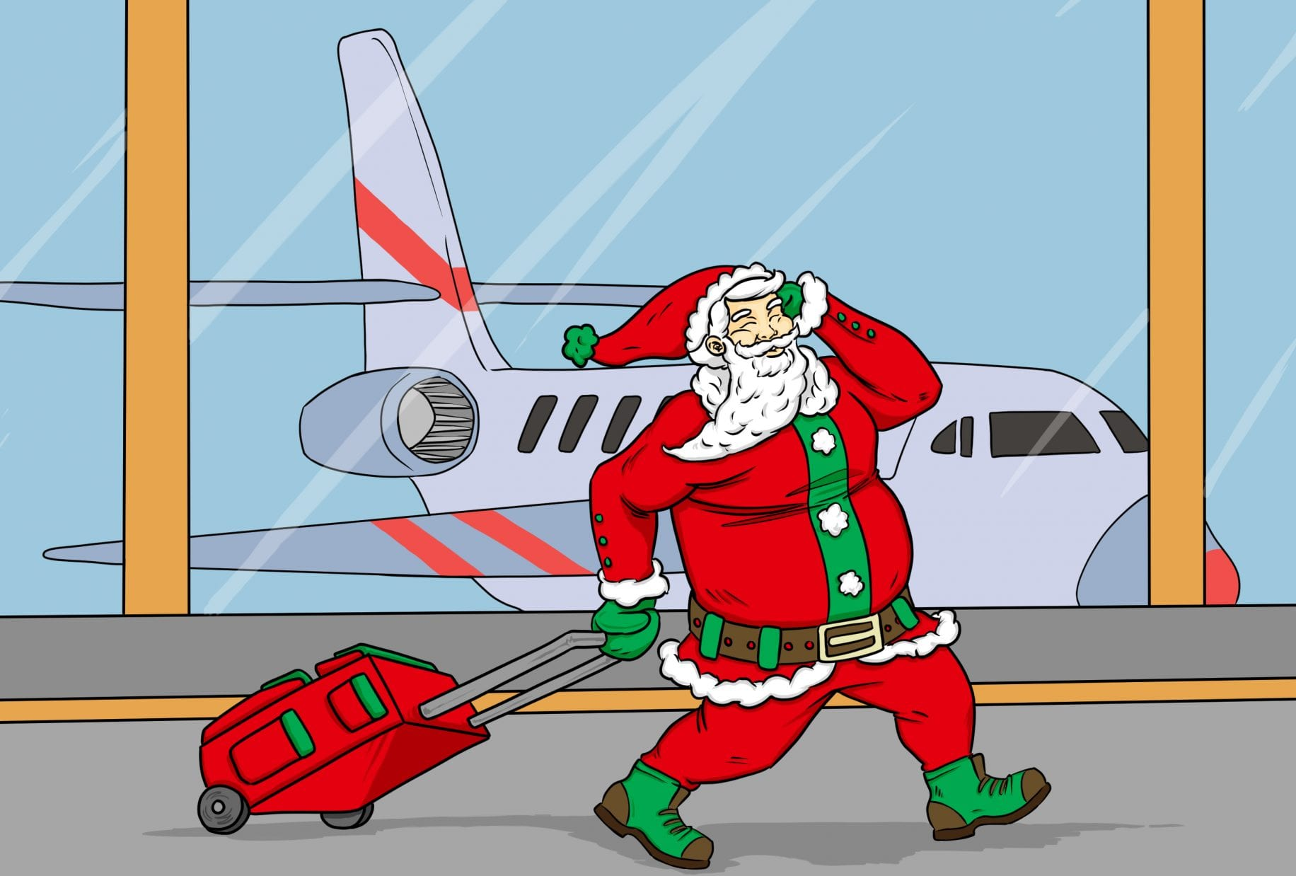 Art by Jonan Everett | Santa at the airport | Holiday Gift Guide: Travel