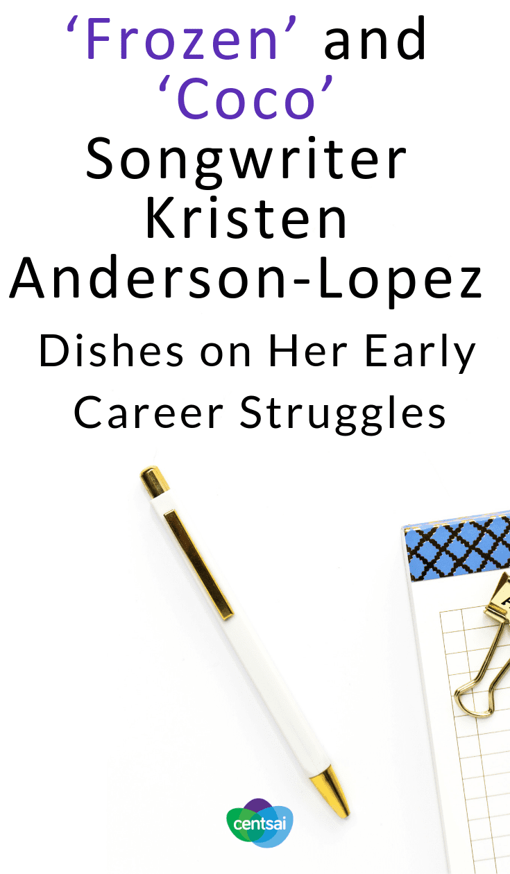 """'Frozen' and 'Coco' Songwriter Kristen Anderson-Lopez Dishes on Her Early Career Struggles. Kristen Anderson-Lopez, one of the songwriters behind """"Frozen"""" and """"Coco,"""" talks about her early career struggles and shares some advice. #career #entertainment"""