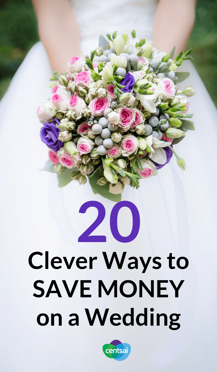 20 Clever Ways to Save Money on a Wedding. What does your #weddingbudget look like, and is that number worth it for you? Check out these top ways to save money on a #wedding. #savemoney #frugaltips #savingtips