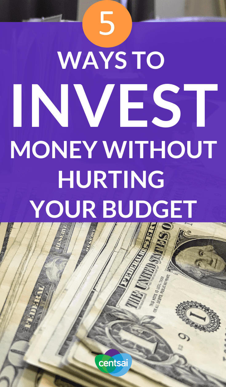 5 Ways to Invest Money Without Hurting Your Budget. Want to invest, but not sure you have enough money to set aside? Check out these ways to invest money without hurting your budget. #investing #investment #budgetingtips #budgeting