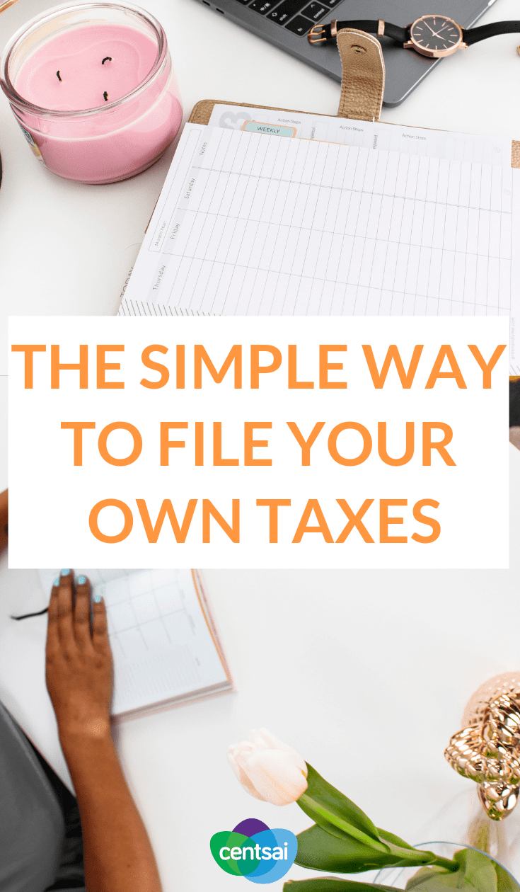 The Simple Way to File Your Own Taxes. All of that tax paperwork can look intimidating, but it may not be as complicated as it seems. Learn how to file your own taxes today. #taxes #taxestips #moneytips