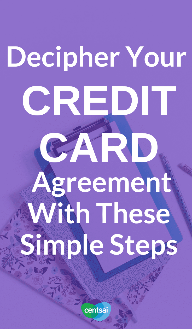 Decipher Your Credit Card Agreement With These Simple Steps. Make sure you know what you're getting into when you sign up for a #creditcard. Learn how to read a #creditcardagreement today. #personalfinance #personalfinancetips