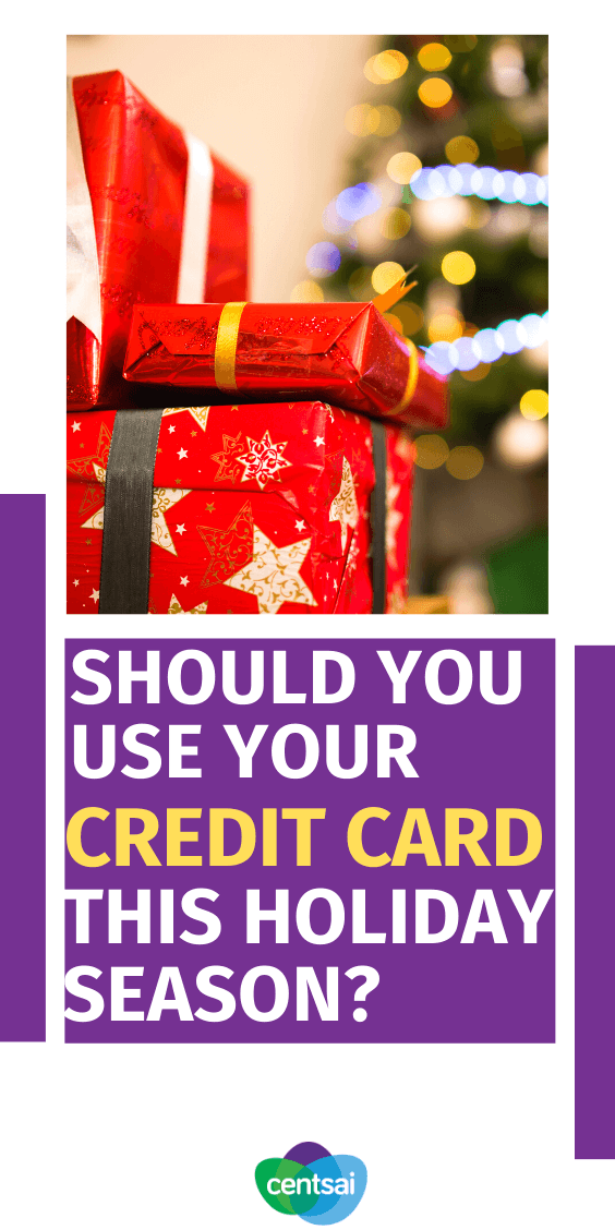 Should you use your credit card this holiday season? Are holiday gifts straining your budget? Tempted to just put it all on a card? Learn the pros and cons of holiday credit card spending first. #creditcard #holidayexpert #personalfinance #CentSai
