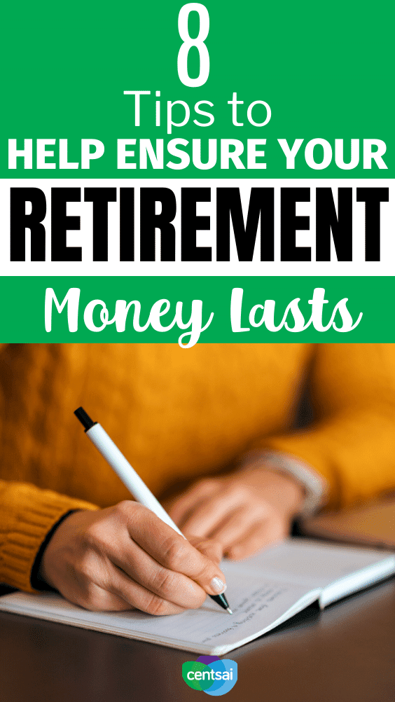 8 Tips to Help Ensure Your Retirement Money Lasts. A solid saving and spending strategy can better ensure you make your retirement money last — our video breaks it down! #CentSai #retirementideas #retirementtips #savingtips #retirementmoney