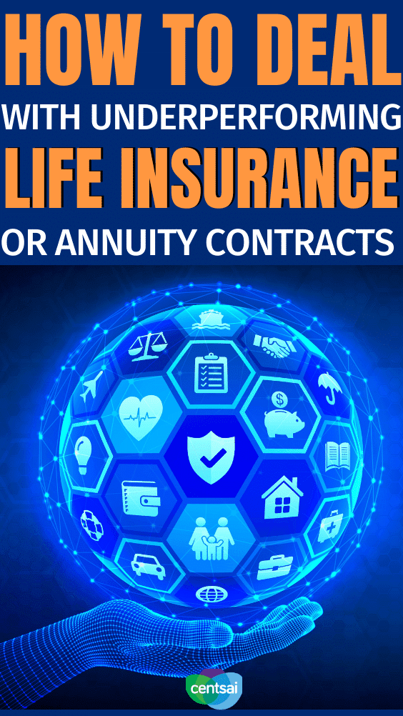 How to Deal With Underperforming Life Insurance or Annuity Contracts. Some things just don't work out as planned. Here is how to resolve underperforming life insurance or annuity contracts with a 1035 exchange. #CentSai #lifeinsurance #lifeinsurancefacts #lifeinsurancefacts